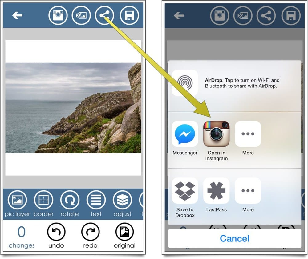 crop images with borders for instagram