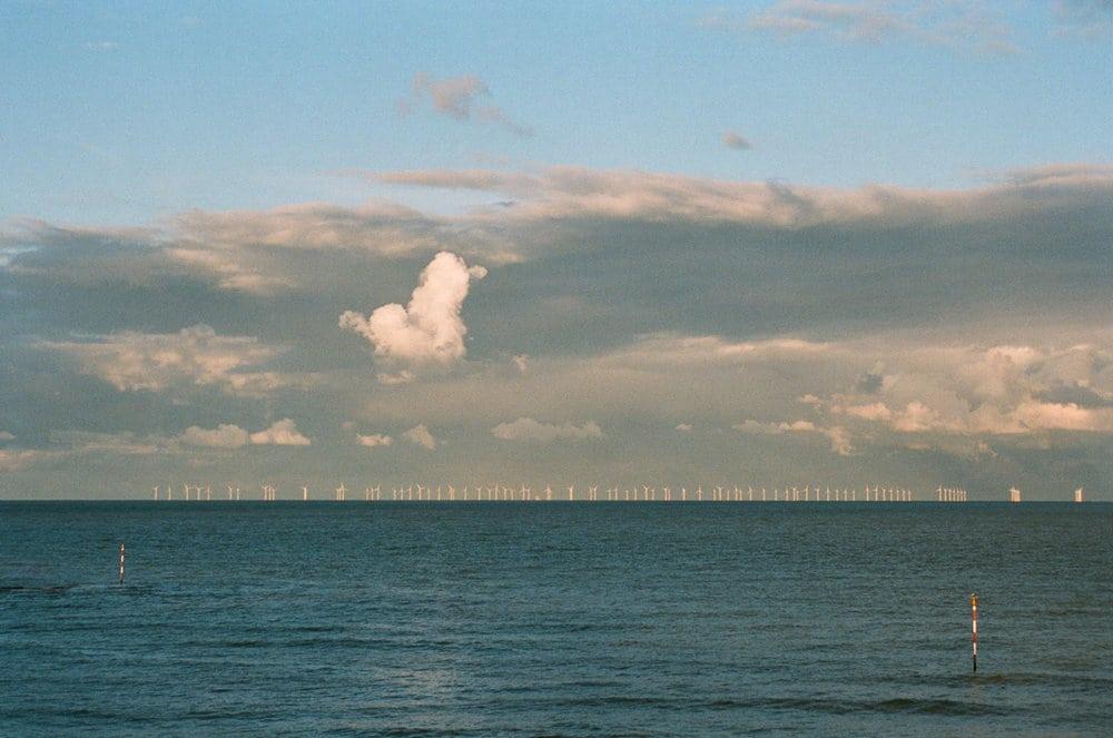 wind turbines in Thames Estury Nikon FM2n
