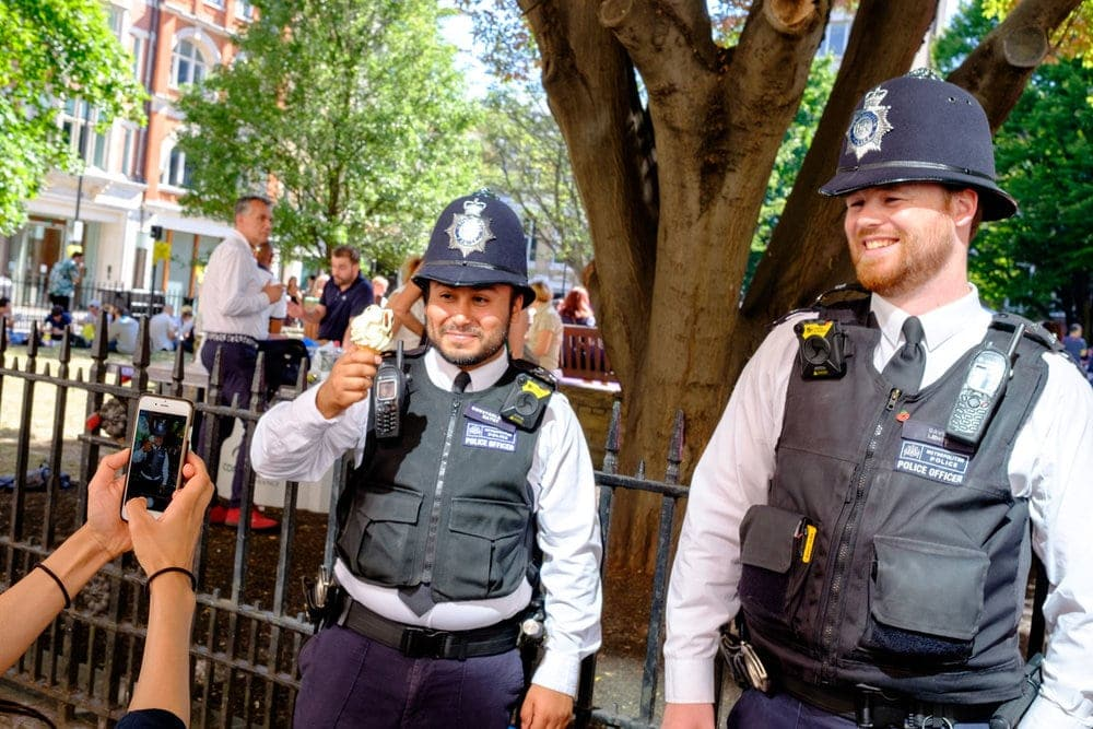 Even the police took part. While there was (understandably)a huge police presence at the parade they were having fun too.London police are the best!