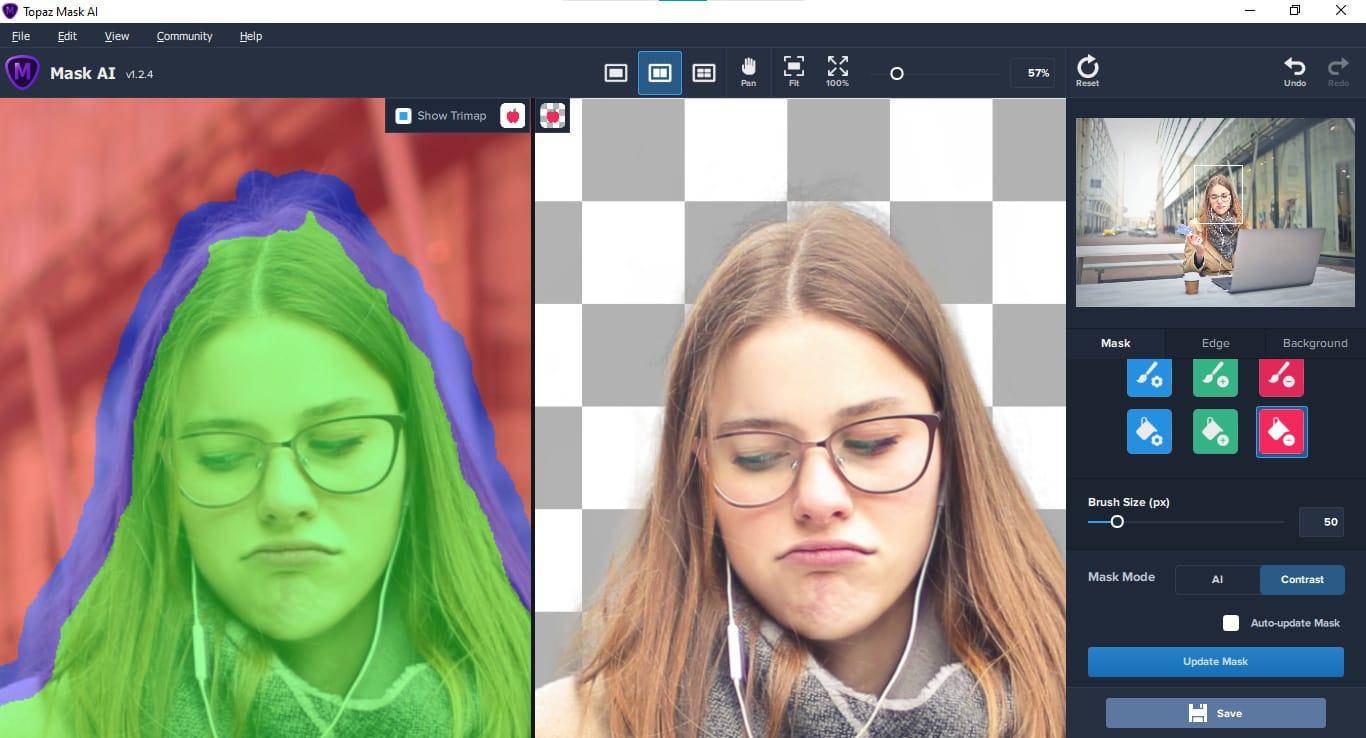 mask through hair using Mask AI