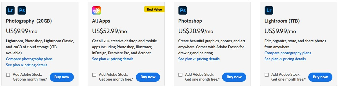 lightroom prices